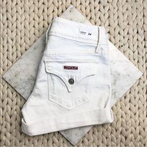 Hudson White Roll Hem Denim Jean Shorts